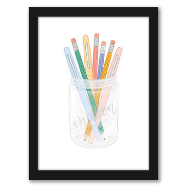 "Pens And Pencils Mason Jar by Elyse Burns - Black Frame, Black Frame, 16"" x 20"""