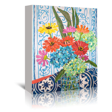 Floral On Blue by Mandy Buchanan - Wrapped Canvas - Wrapped Canvas - Americanflat