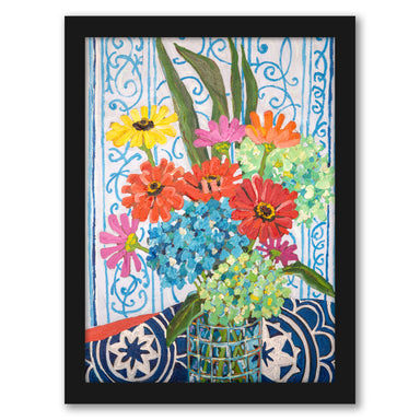 Floral On Blue by Mandy Buchanan - Framed Print - Framed Print - Americanflat