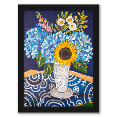Hydrangeas And Sunflowers by Mandy Buchanan - Framed Print - Framed Print - Americanflat