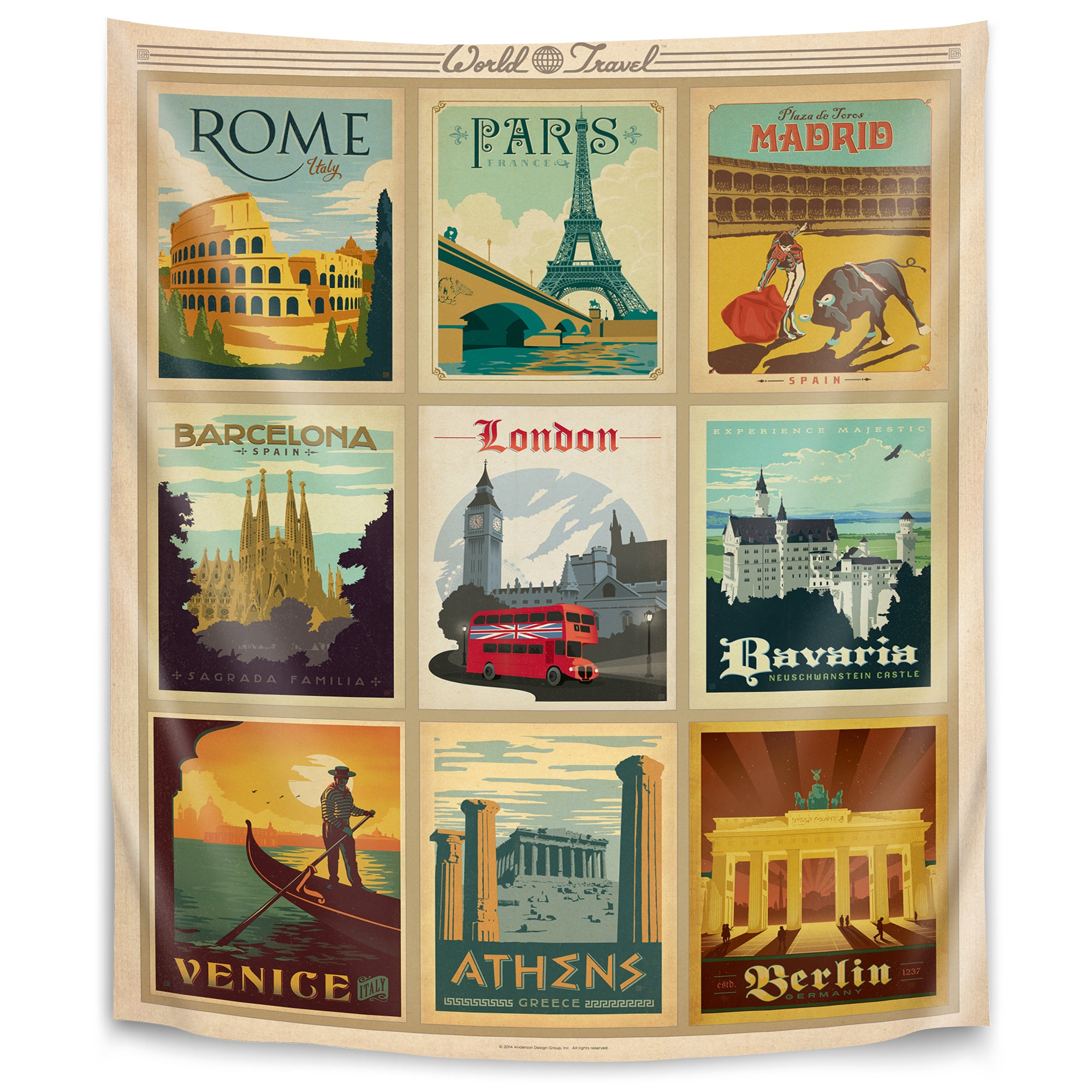 World Travel Multi 1 By Anderson Design Group Tapestry Americanflat