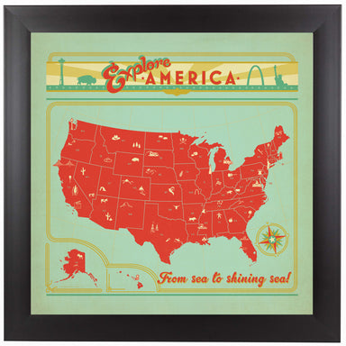 Map USA by Anderson Design Group Framed Print - Wall Art - Americanflat