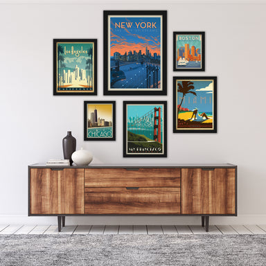 United States Cities by Anderson Design Group Framed Art Set - Art Set - Americanflat