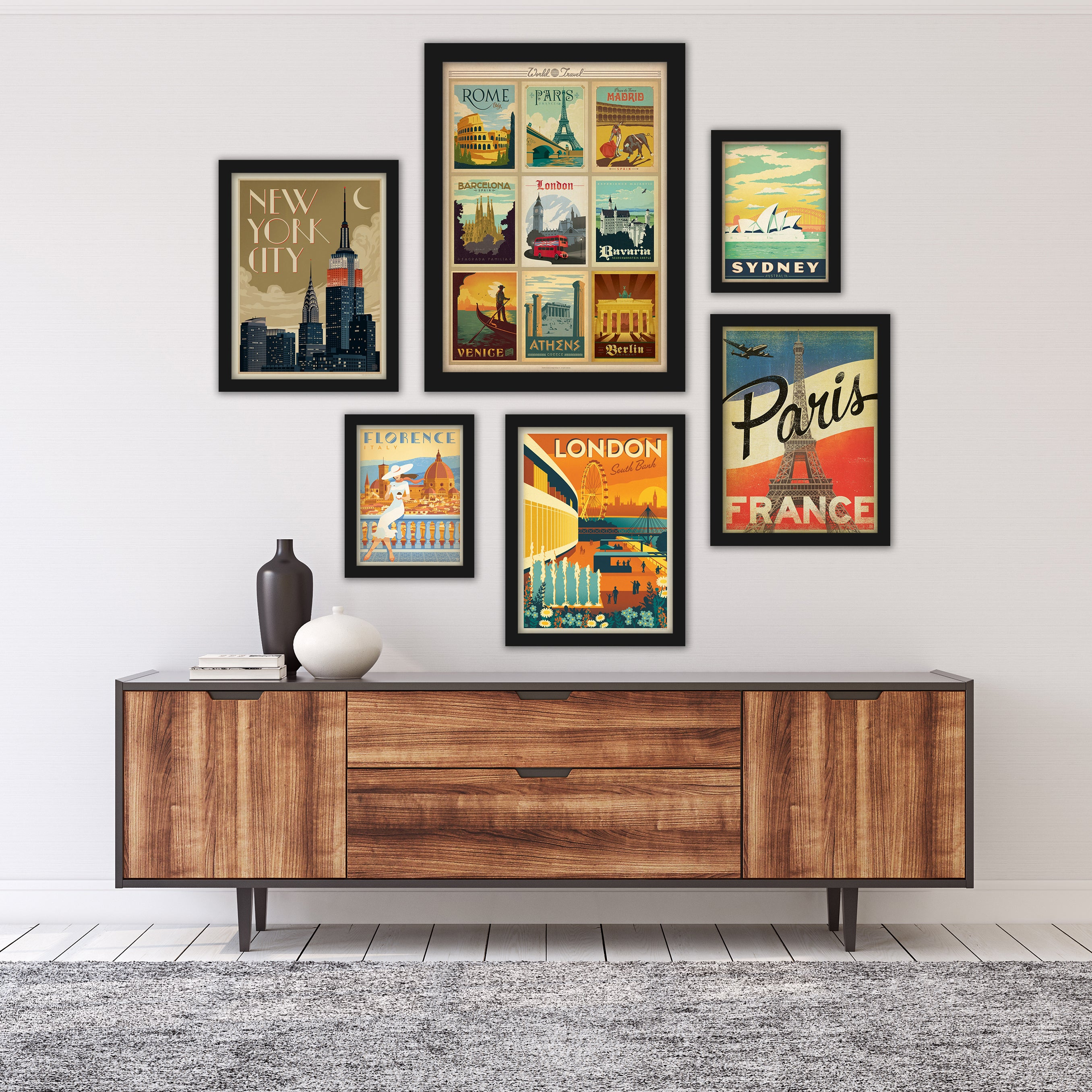 World Cities by Anderson Design Group Framed Art Set - Art Set - Americanflat