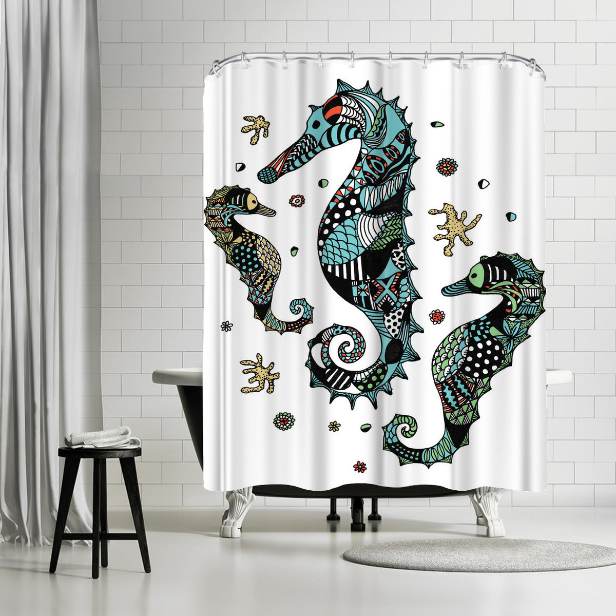 Seahorses by Patricia Pino Shower Curtain -  - Americanflat