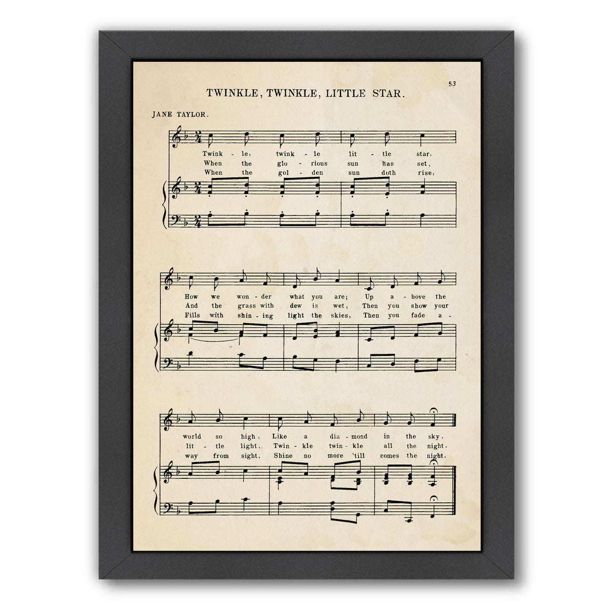 Twinkle Twinkle Little Star Sheet Music by Samantha Ranlet Framed Print - Wall Art - Americanflat