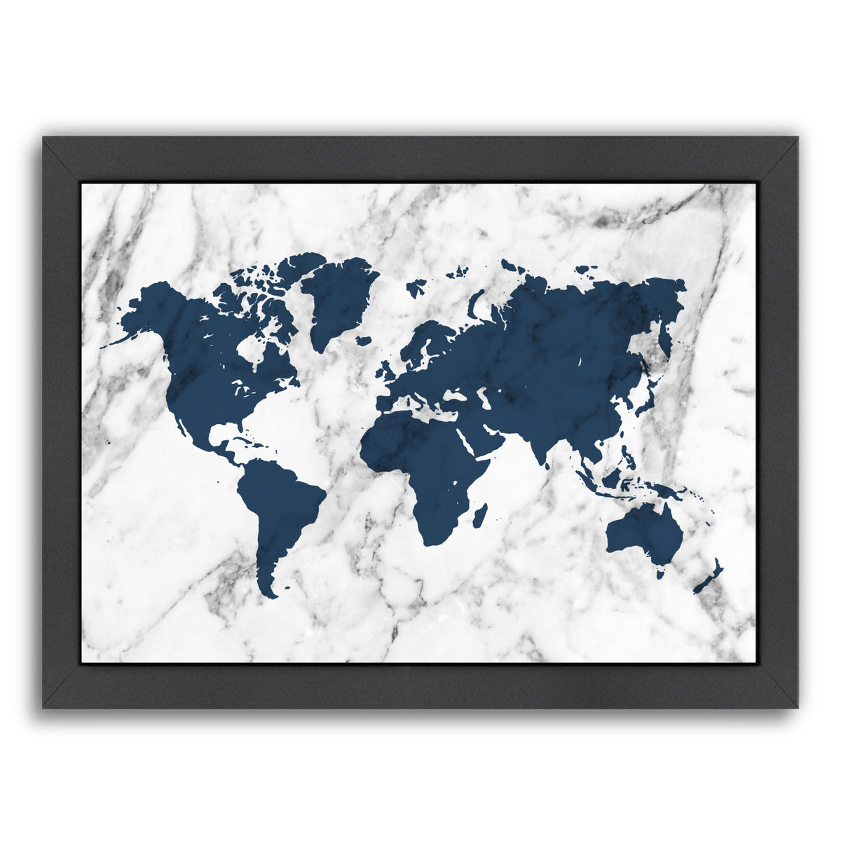 Marble World Map (Navy) by Samantha Ranlet Framed Print - Americanflat