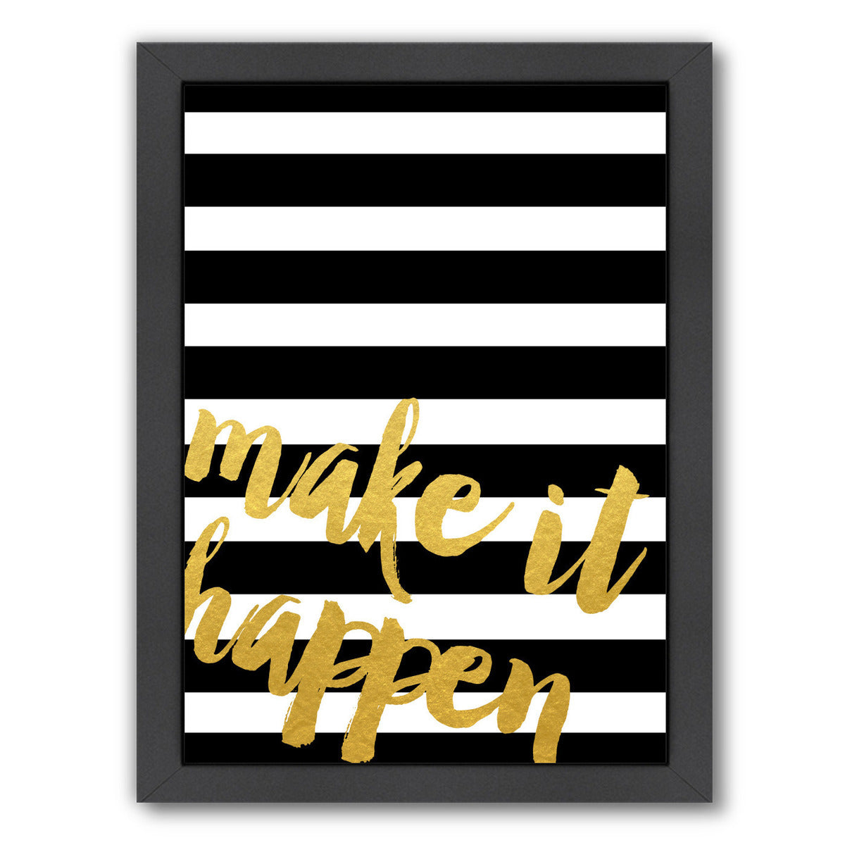 Make It Happen Gold Brush Script by Samantha Ranlet Framed Print - Wall Art - Americanflat