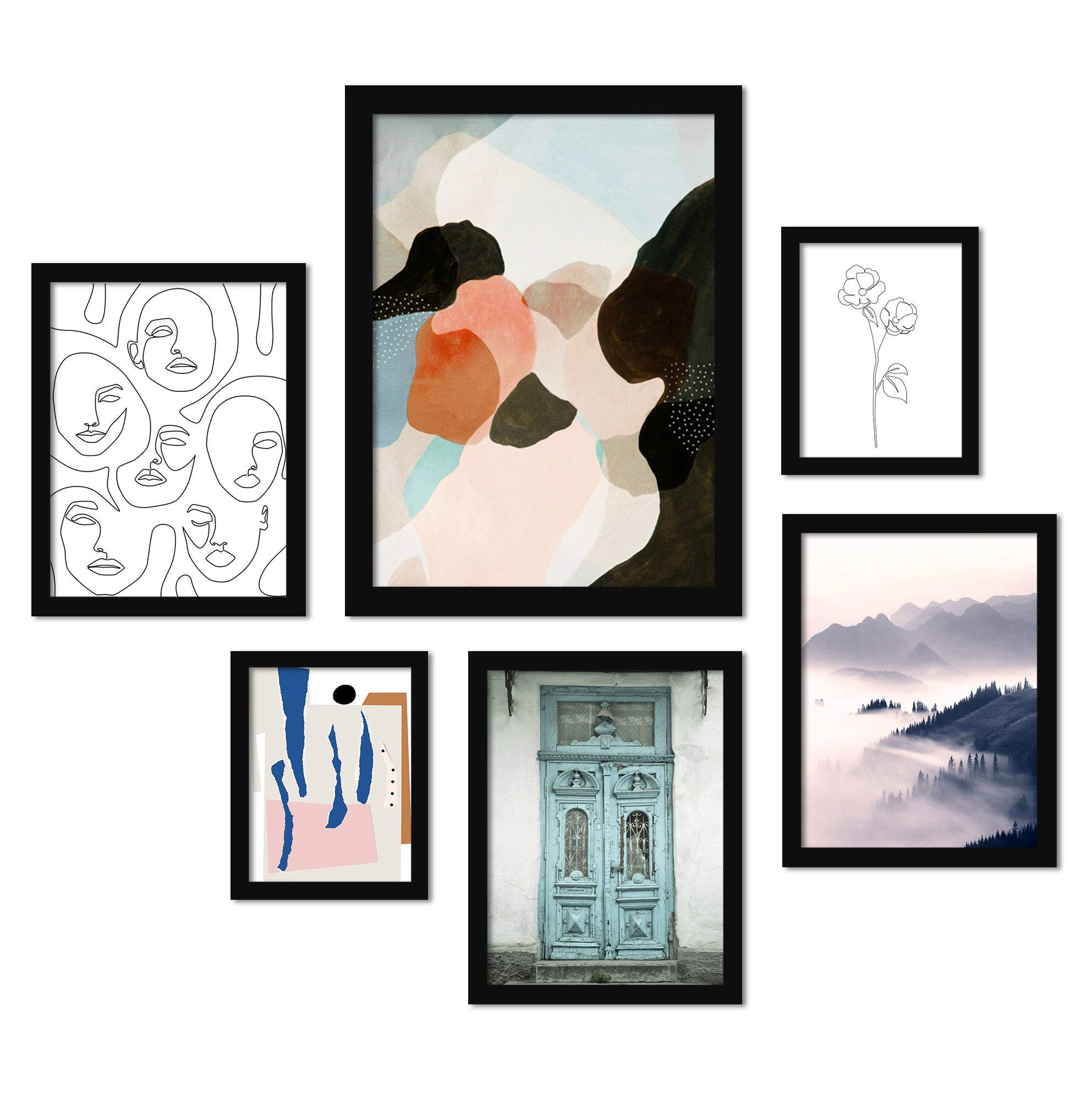 Contemporary Mixed Art - 6 Piece Framed Gallery Wall Set - Americanflat