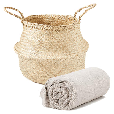 Cozy Corner Bundle: Seagrass Basket & Cotton Throw Blanket - Bundle - Americanflat