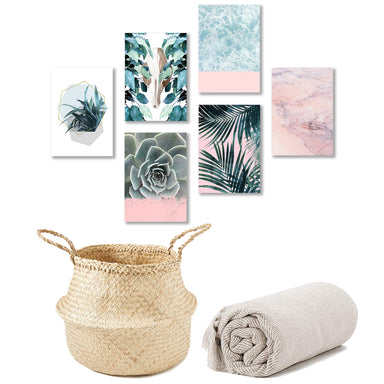 Boho Style Bundle: Beach Canvas Gallery Wall, Seagrass Basket & Herringbone Cotton Throw Blanket - Bundle - Americanflat