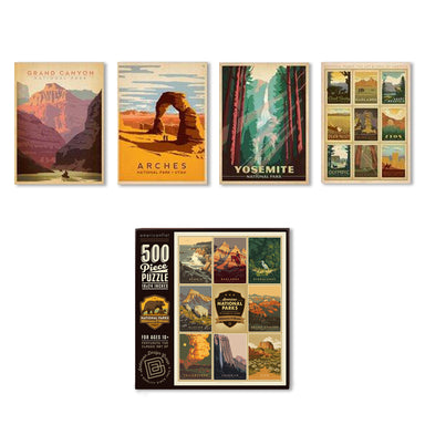 National Parks Bundle: 4 Piece Canvas Gallery Wall Set & Jigsaw Puzzle Bundle - Bundle - Americanflat