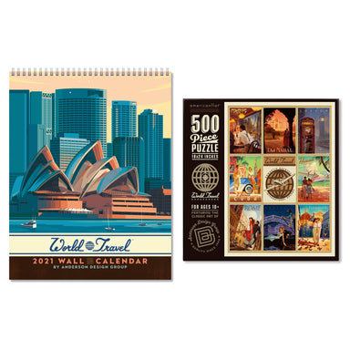 World Travel Bundle: 2021 Wall Calendar & Jigsaw Puzzle - Bundle - Americanflat