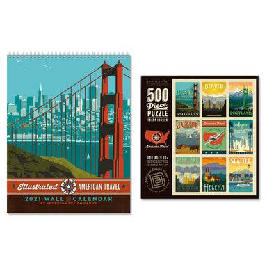American Travel Bundle: 2021 Wall Calendar & Jigsaw Puzzle - Bundle - Americanflat