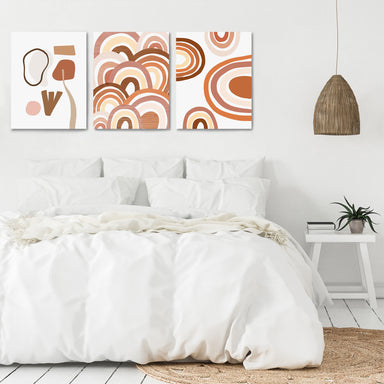 Terracotta Rainbows by Wall + Wonder - 3 Piece Canvas Triptych - Americanflat