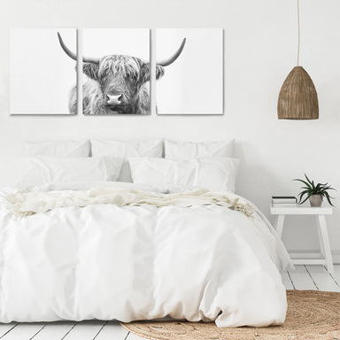 Highland Bull Horns by Sisi and Seb - 3 Piece Canvas Triptych - Americanflat