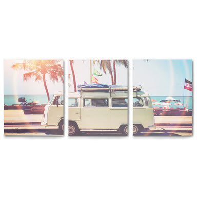 3 Piece Framed Triptych VW Bus on the Coast by Sisi and Seb