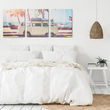 VW Bus on the Coast by Sisi and Seb - 3 Piece Canvas Triptych - Americanflat