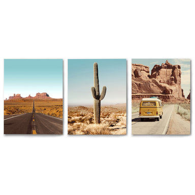 3 Piece Framed Triptych Desert Drives Photography by Tanya Shumkina