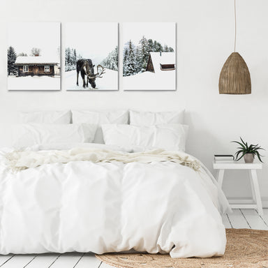 Snowy Cabin by Tanya Shumkina - 3 Piece Canvas Triptych - Americanflat