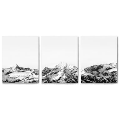 3 Piece Framed Triptych Snowy Mountain Caps by Tanya Shumkina