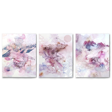 3 Piece Framed Triptych Violet Watercolors by Hope Bainbridge