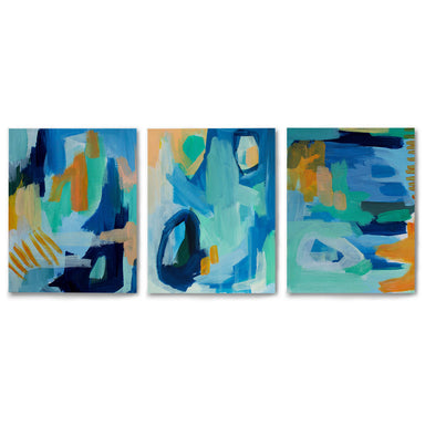 3 Piece Framed Triptych Painted Abstract Texture by Chelsea Hart