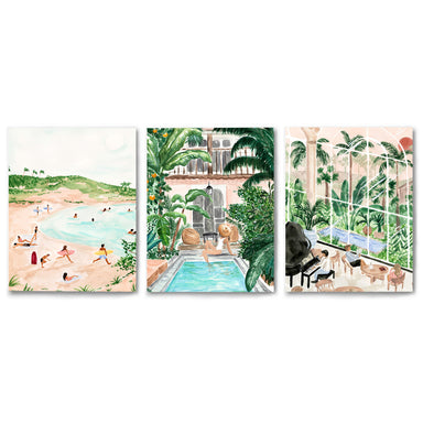 3 Piece Framed Triptych Tropical Travel GIrl by Sabina Fenn