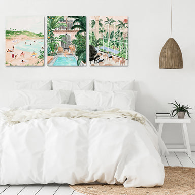 Tropical Travel GIrl by Sabina Fenn - 3 Piece Canvas Triptych - Americanflat
