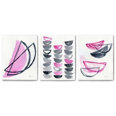3 Piece Framed Triptych Pink Slices by Dreamy Me