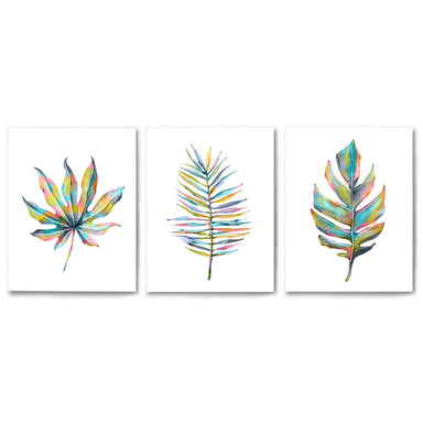 3 Piece Framed Triptych Rainbow Palm Leaves by Lisa Nohren