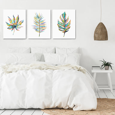 Rainbow Palm Leaves by Lisa Nohren - 3 Piece Canvas Triptych - Americanflat