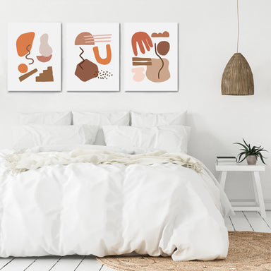 Terracotta Abstract Shapes by Wall + Wonder - 3 Piece Canvas Triptych - Americanflat