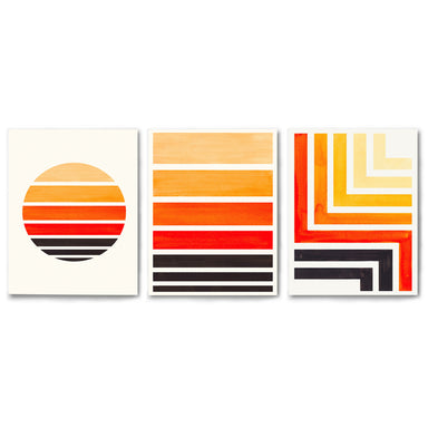 3 Piece Framed Triptych Sunset Strokes by Ejaaz Haniff