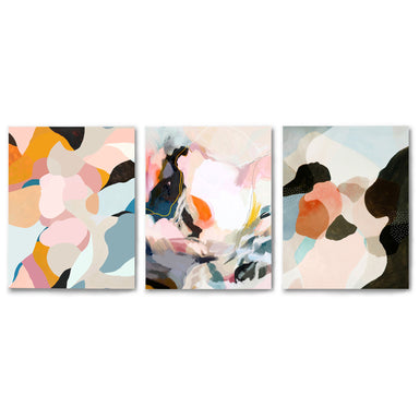 3 Piece Framed Triptych Peachy Paintings by Louise Robinson