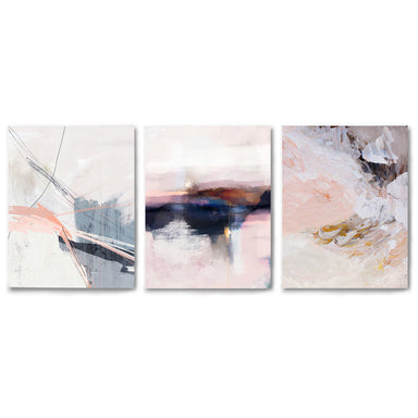 3 Piece Framed Triptych Smoky Blush by Louise Robinson