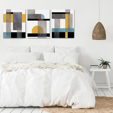 Sharp Shapes by Monica Pop - 3 Piece Canvas Triptych - Americanflat