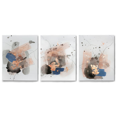 3 Piece Framed Triptych Watercolor Splashes by Christine Olmstead