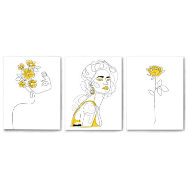3 Piece Framed Triptych Yellow Female Line Art by Explicit Design