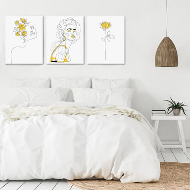 Yellow Female Line Art by Explicit Design - 3 Piece Canvas Triptych - Americanflat