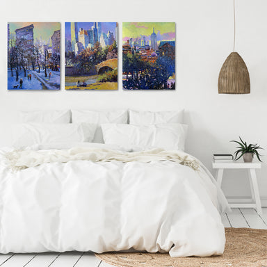 New York Sightseeing by Suren Nersisyan - 3 Piece Canvas Triptych - Americanflat