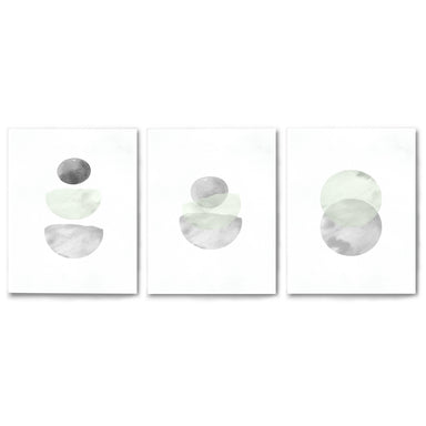 3 Piece Framed Triptych Retro Geo in Stone by Tanya Shumkina