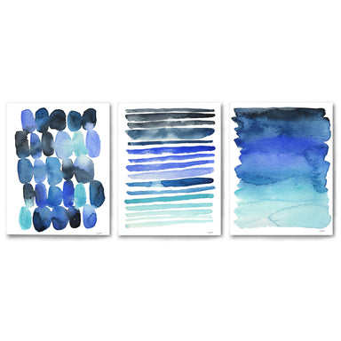 3 Piece Framed Triptych Ocean Breeze Watercolors by Kelsey McNatt