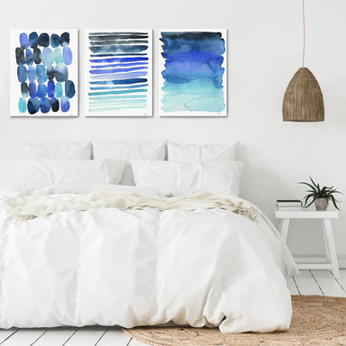 Ocean Breeze Watercolors by Kelsey McNatt - 3 Piece Canvas Triptych - Americanflat