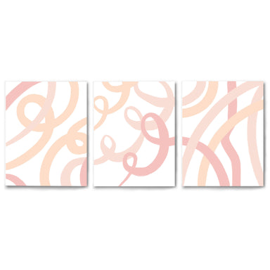 3 Piece Framed Triptych Pink Ribbons by Amy Brinkman