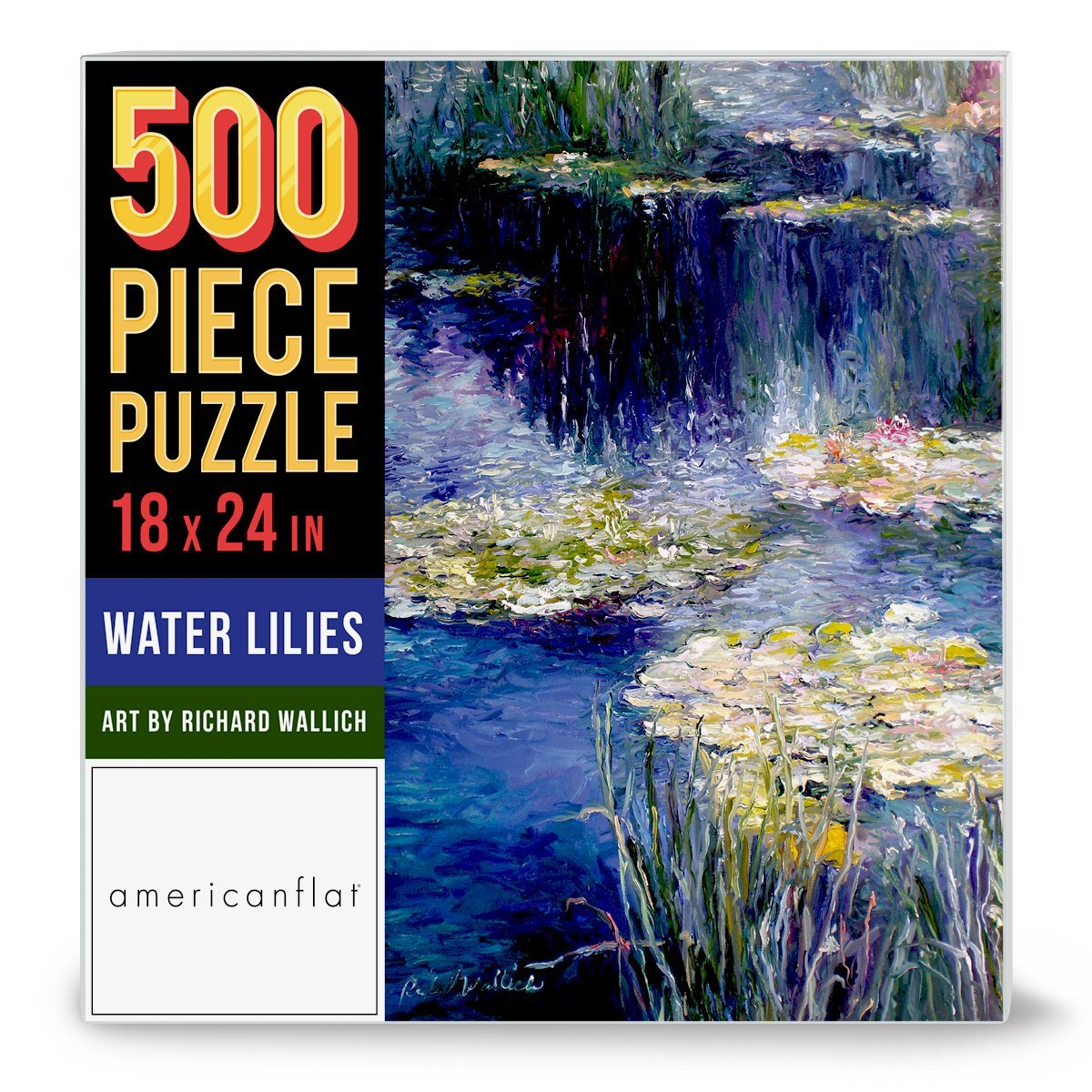 "500 Piece Jigsaw Puzzle, 18x24 Inches, ""Water Lilies"" Artwork by Richard Wallich - Jigsaw Puzzle - Americanflat"