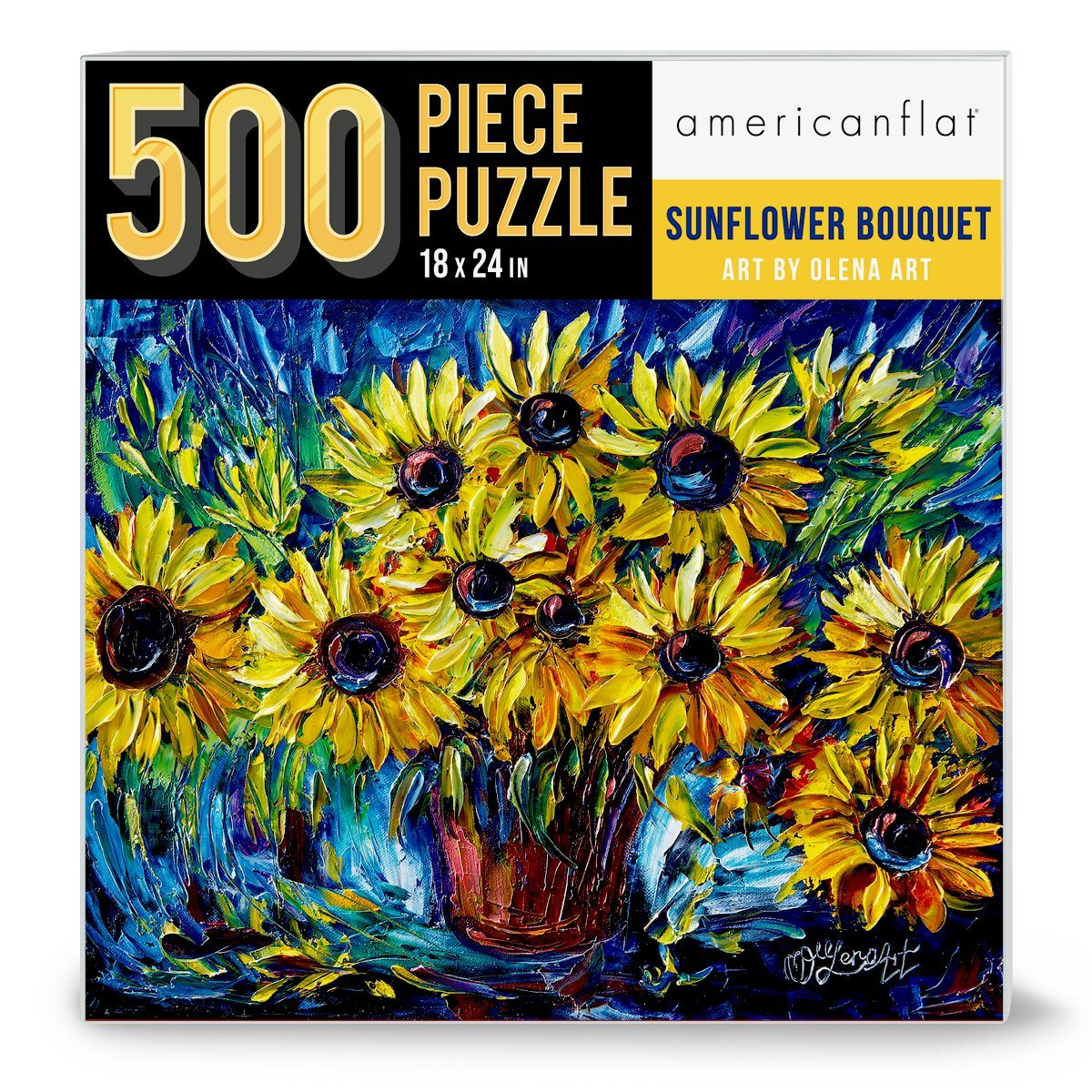 "500 Piece Jigsaw Puzzle, 18x24 Inches, ""Sunflowers"" Artwork by OLena Art - Jigsaw Puzzle - Americanflat"