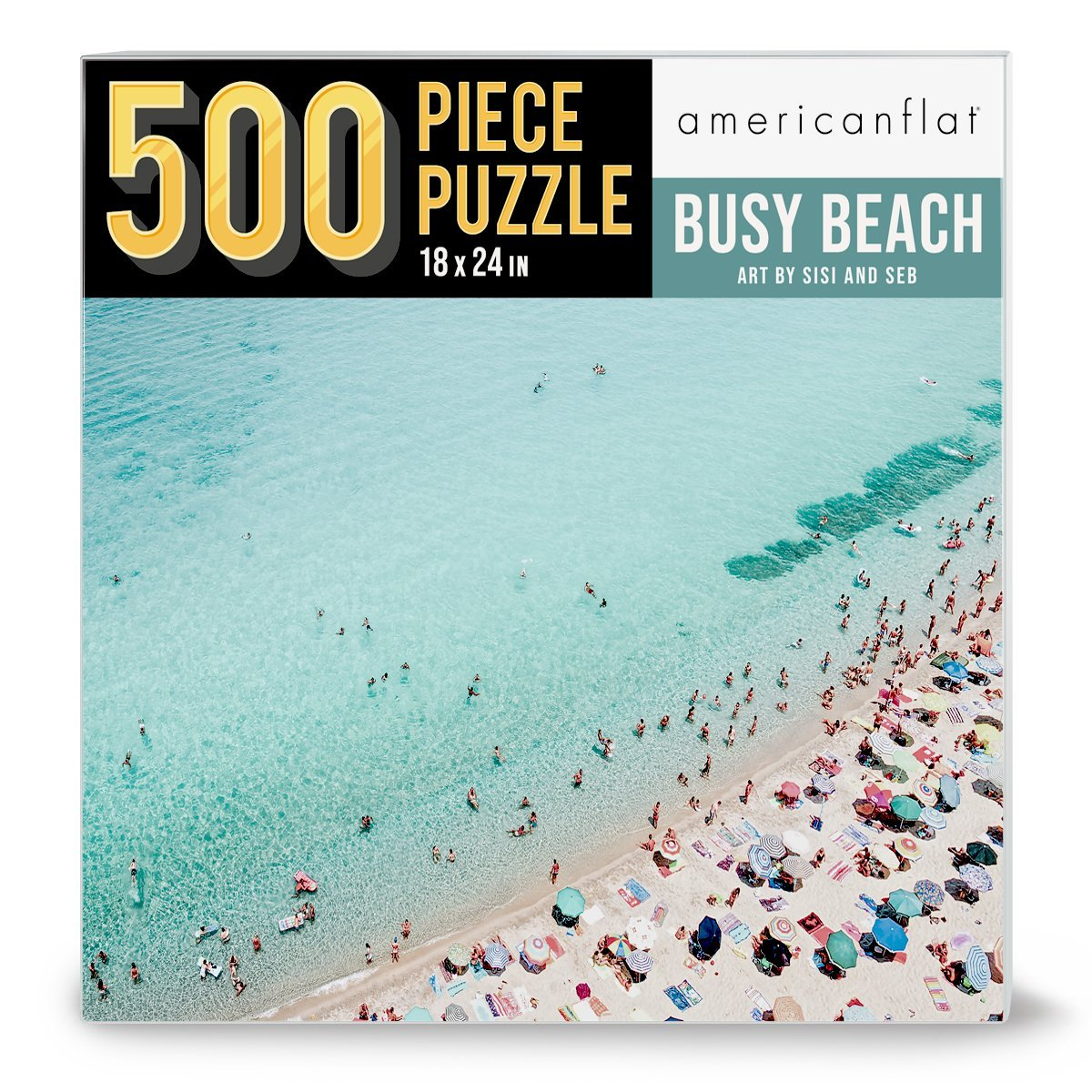 "500 Piece Jigsaw Puzzle 18""x24"" - Busy Beach by Sisi and Seb - Jigsaw Puzzle - Americanflat"
