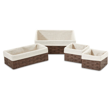 Woven Paper Storage Baskets - Large Size Set of 4 - Basket - Americanflat