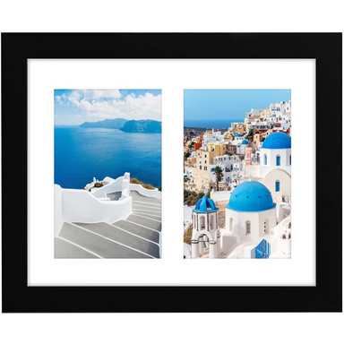 "Collage Picture Frame in Black with Two Displays MDF and Shatter Resistant Glass - 8"" x 10"" - Americanflat"